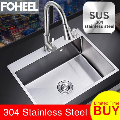 FOHEEL Single SUS304 Stainless Steel Kitchen Sink - esavy