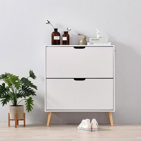 Image of Panana Shoe Hallway White Storage Cabinet - esavy