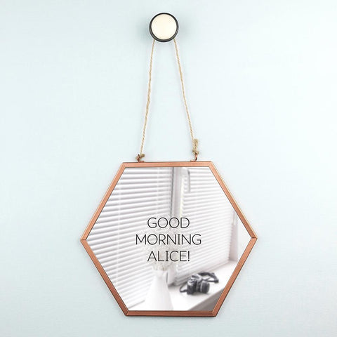 Image of Moonshine Personalised Hexagonal Shaped Copper Mirror - esavy