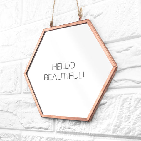 Moonshine Classic Personalised Hexagon Copper Mirror - esavy