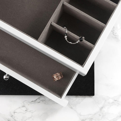 Moonshine Personalised Luxe Powder White Jewellery Box - esavy