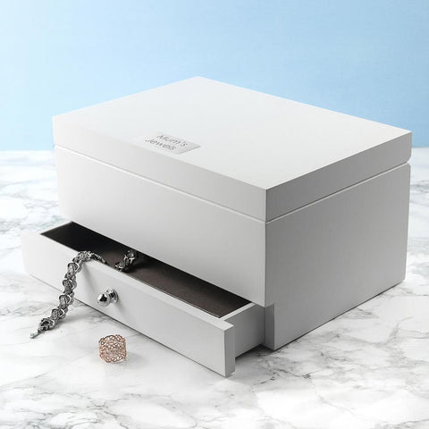 Image of Personalised Luxe Powder White Jewellery Box - esavy
