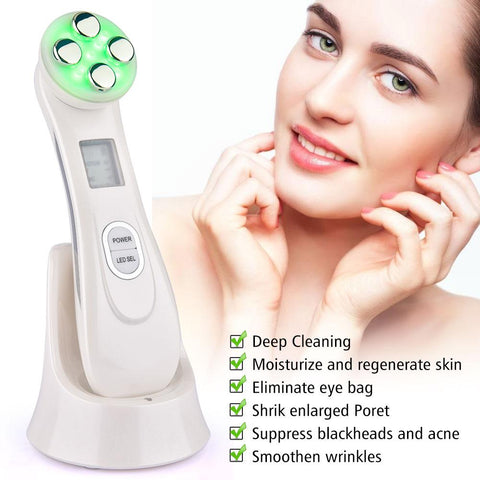 Radiofrequency Facial LED Skin Tightening 5 in 1 LED Photon Device Anti Aging Wrinkles Blackhead Acne Reduce Face Skin Care Tool LED Skincare Tool agdoad