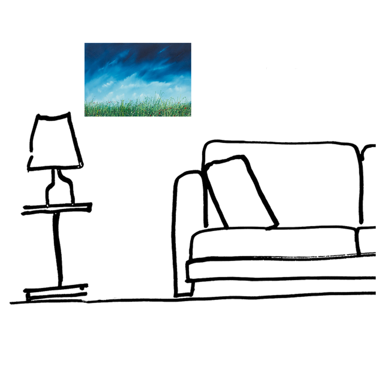 The breath, lounge room setting view of the oil painting of wild grasses by British contemporary artist  Royden Astrop.