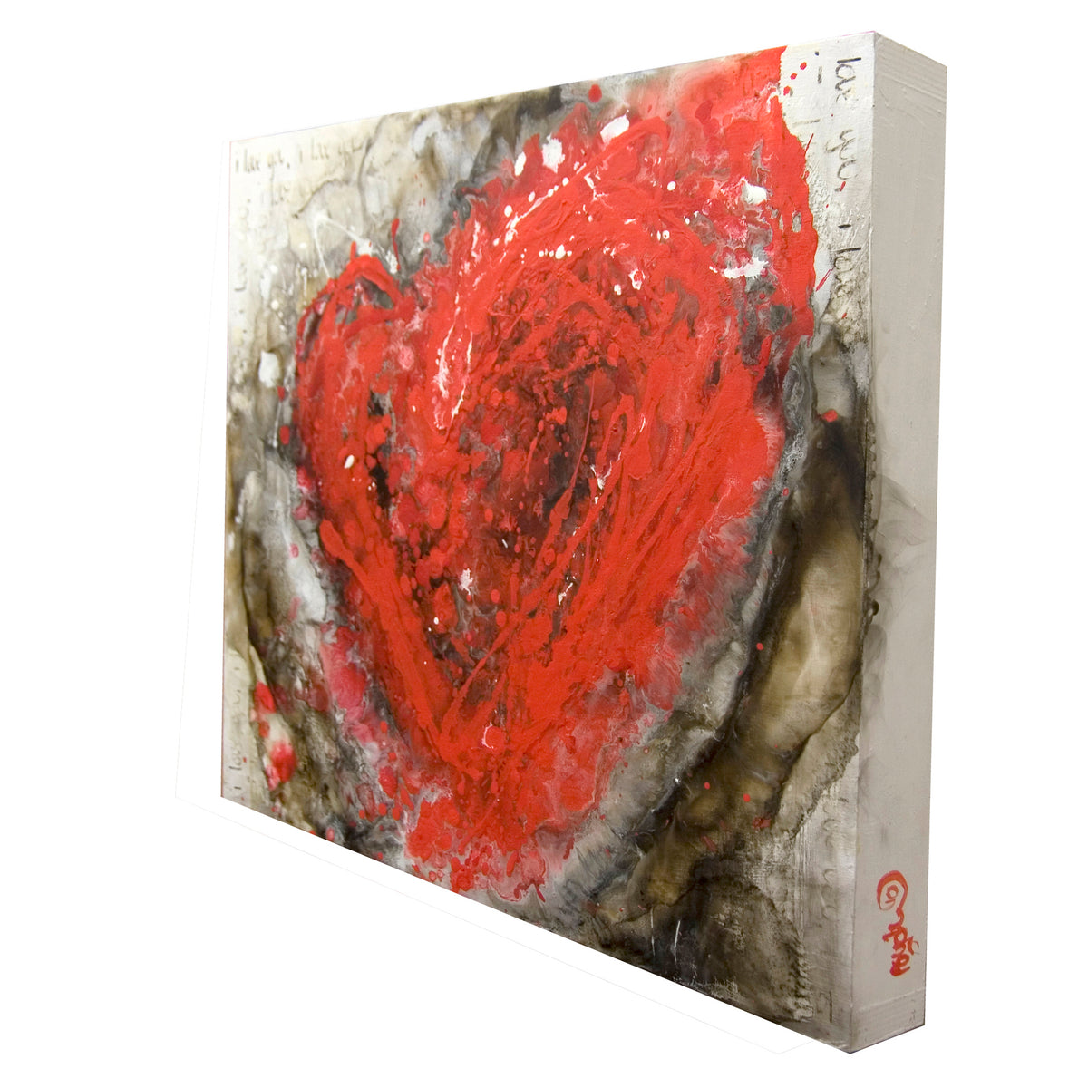 90 i love you's, Royden Astrop, British artist, painter, fire painting, painting with fire, fire heart, heart painting, oil painting