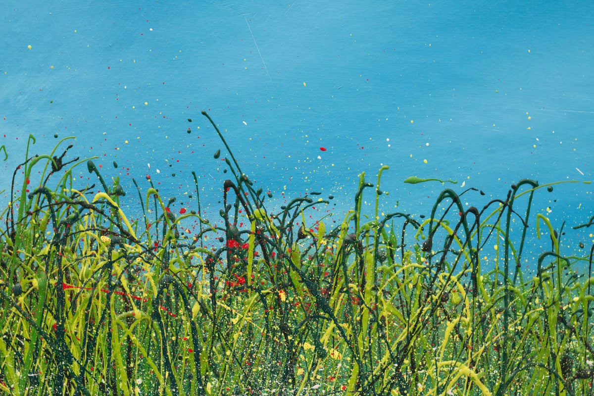I glanced, Detail view of an oil painting of wild grasses and blue sky by British contemporary artist Royden Astrop
