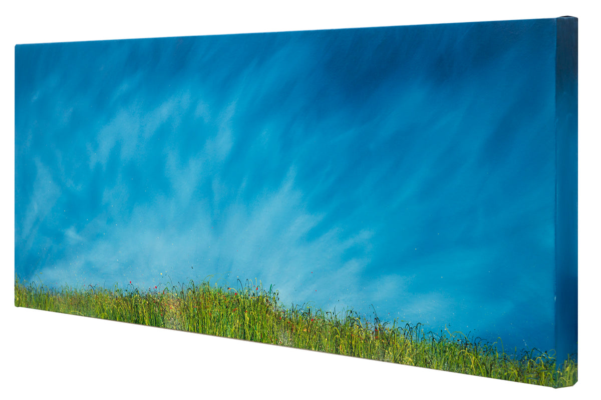 I glanced, Side view of an oil painting of wild grasses and blue sky by British contemporary artist Royden Astrop