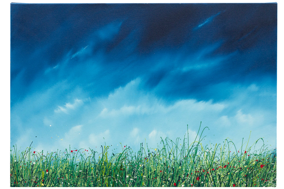 The breath, An oil painting of wild grasses by British contemporary artist  Royden Astrop.