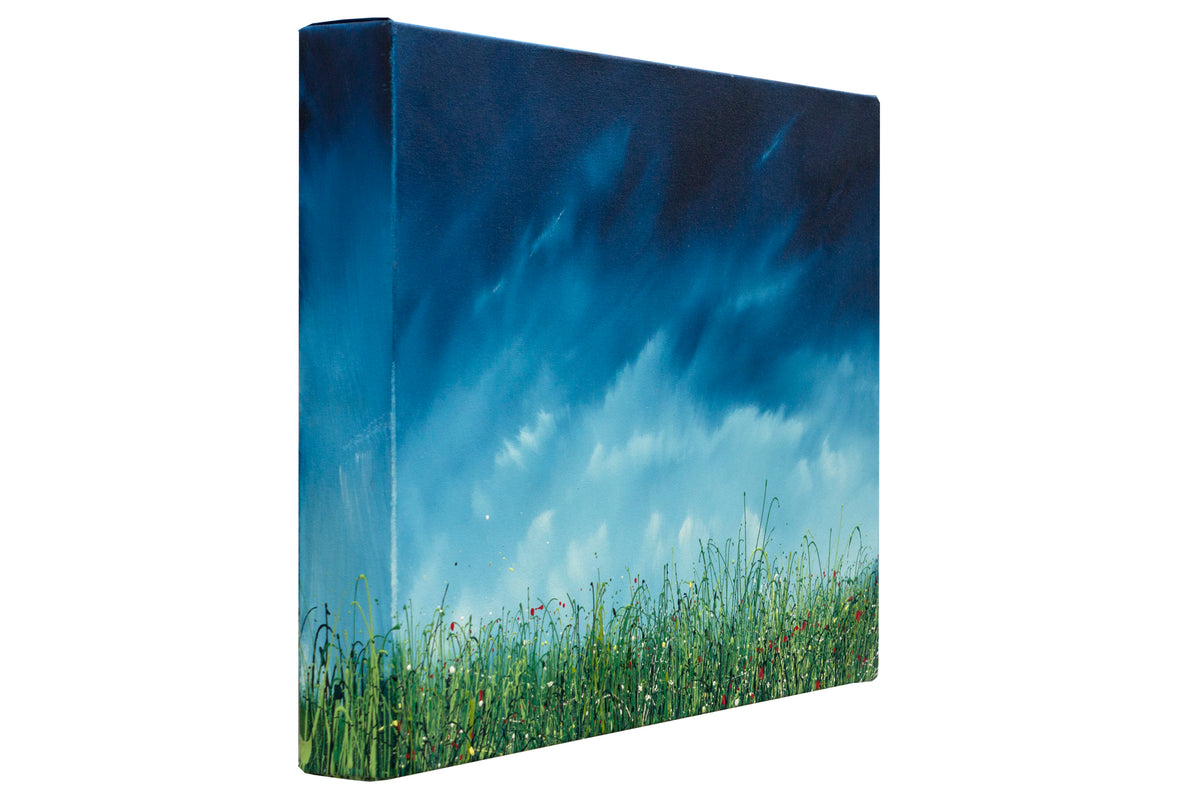 The breath, left side view of the oil painting of wild grasses by British contemporary artist  Royden Astrop.