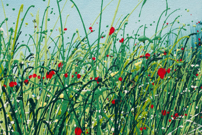 The breath, detail view of the oil painting of wild grasses by British contemporary artist  Royden Astrop. showing grasses