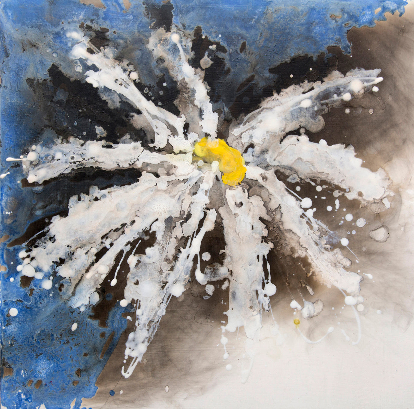 but it was, Royden Astrop, British artist, painter, fire painting, painting with fire, fire daisy, daisy painting, flower painting, blue daisy, oil painting