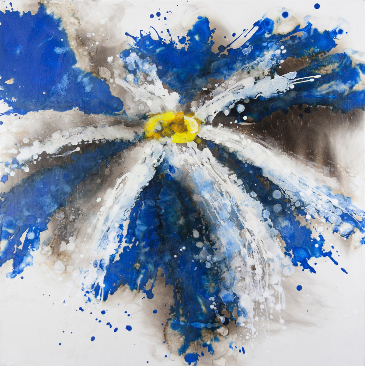 finding, Royden Astrop, British artist, painter, fire painting, painting with fire, fire daisy, daisy painting, flower painting, blue daisy, oil painting