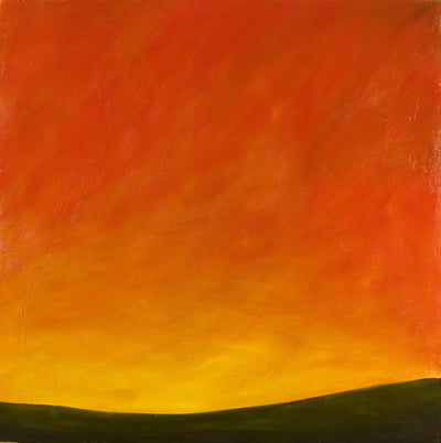 fire, Royden Astrop, British artist, painter, sunset, landscape, acrylic painting,