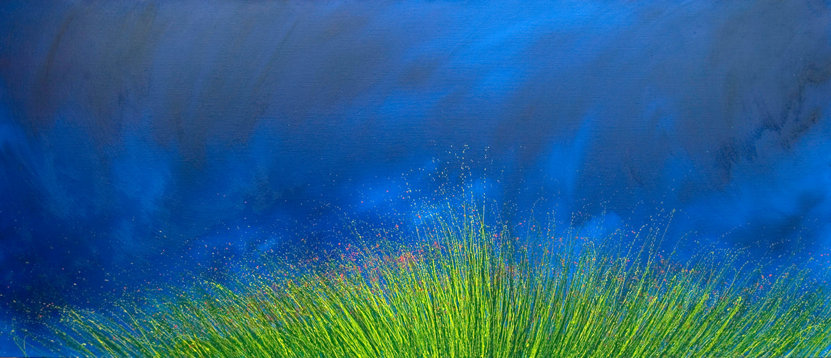 first sight, Royden Astrop, British artist, painter, wild grasses, grass painting, oil painting, big sky country