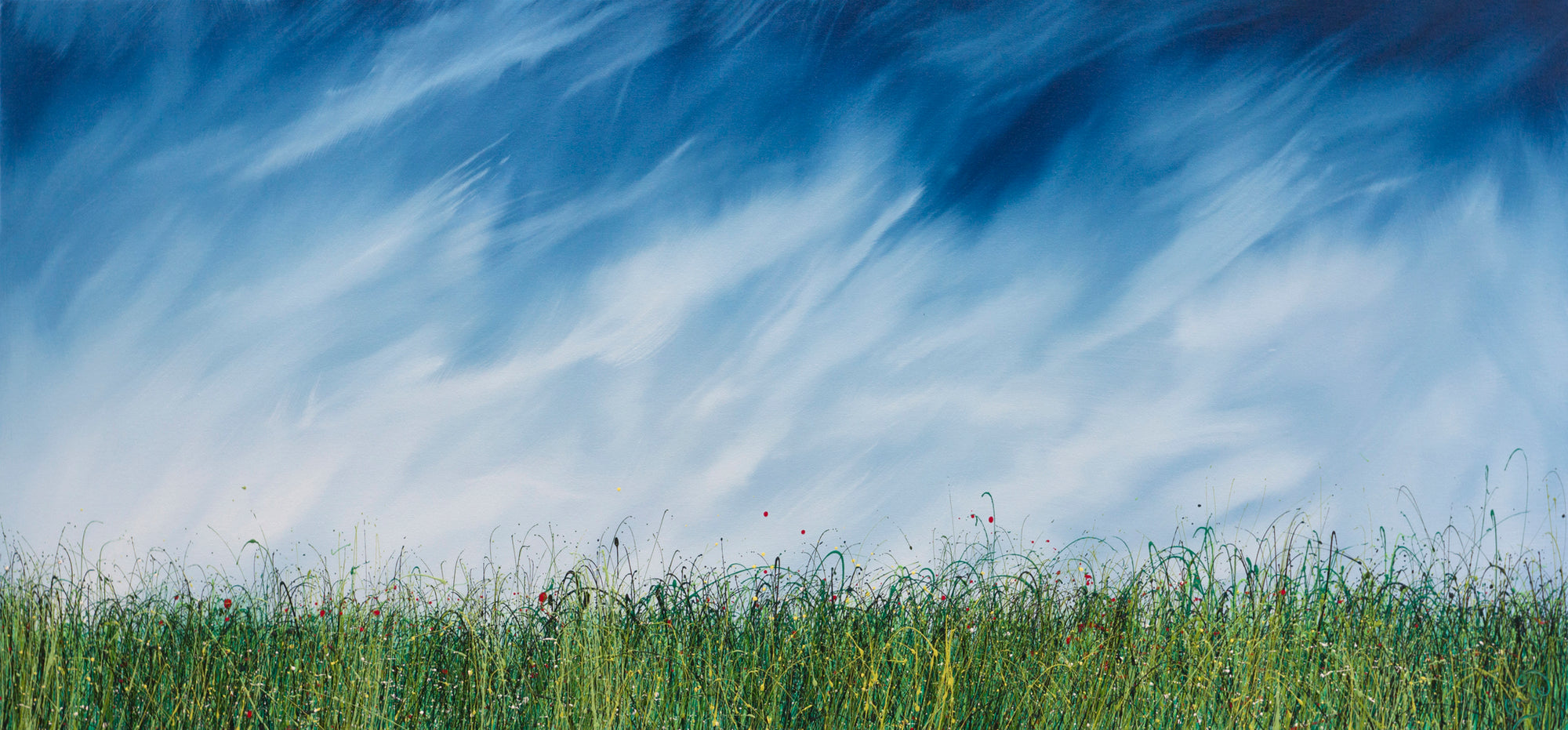 Impact, an oil painting  of wild grasses  by Royden Astrop,  a contemporary British artist