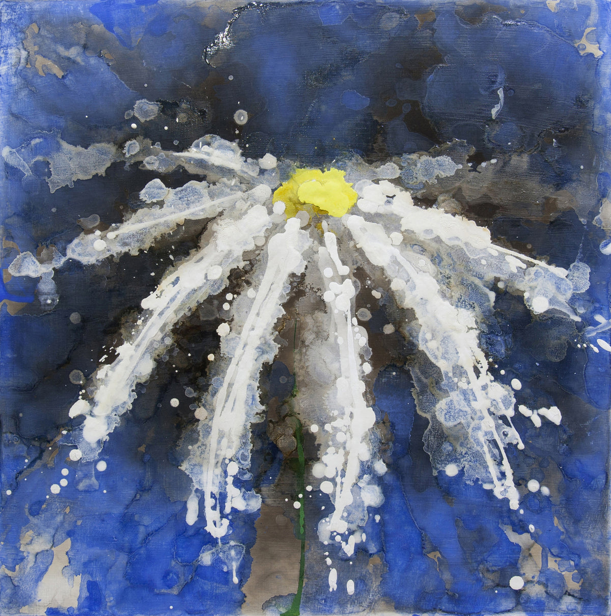 like i did, Royden Astrop, British artist, painter, fire painting, painting with fire, fire daisy, daisy painting, flower painting, blue daisy, oil painting