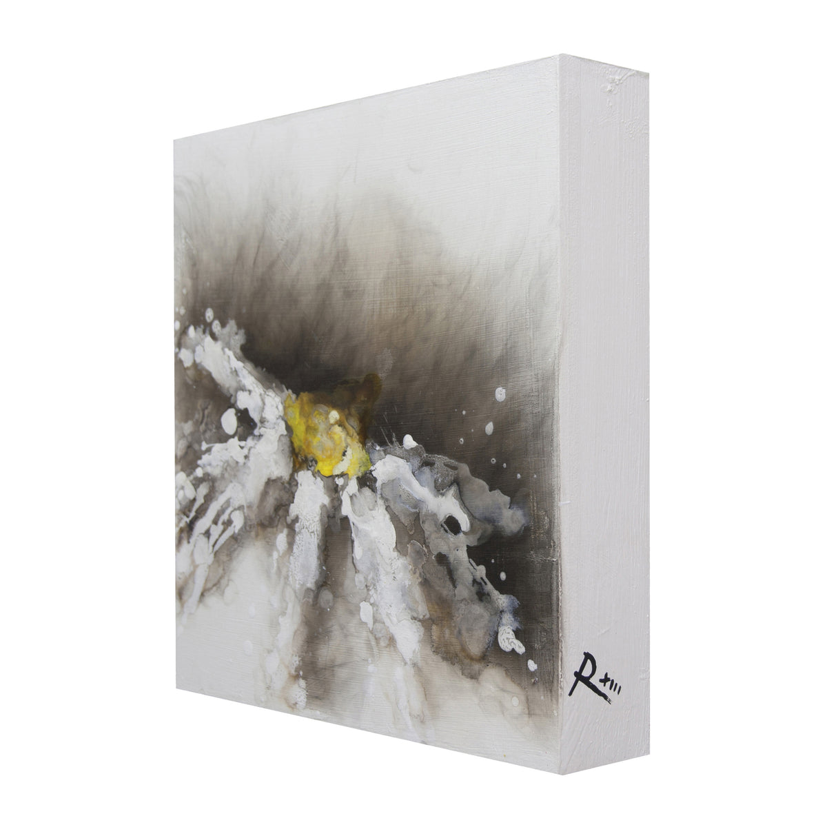 looking around, Royden Astrop, British artist, painter, fire painting, painting with fire, fire daisy, daisy painting, flower painting, dark daisy, oil painting