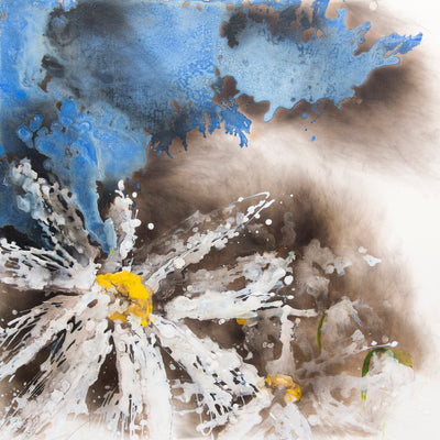 whatever that meant, Royden Astrop, British artist, painter, fire painting, painting with fire, fire daisy, daisy painting, flower painting, dark daisy, oil painting