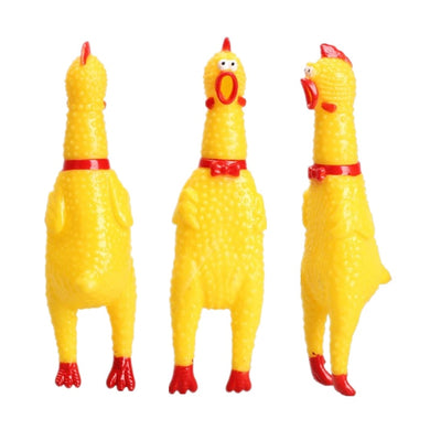 17CM Yellow Rubber Screaming Chicken Squeak Chew Toy