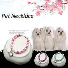 Load image into Gallery viewer, Puppy Dog Beaded Necklace Collar Heart Pendant
