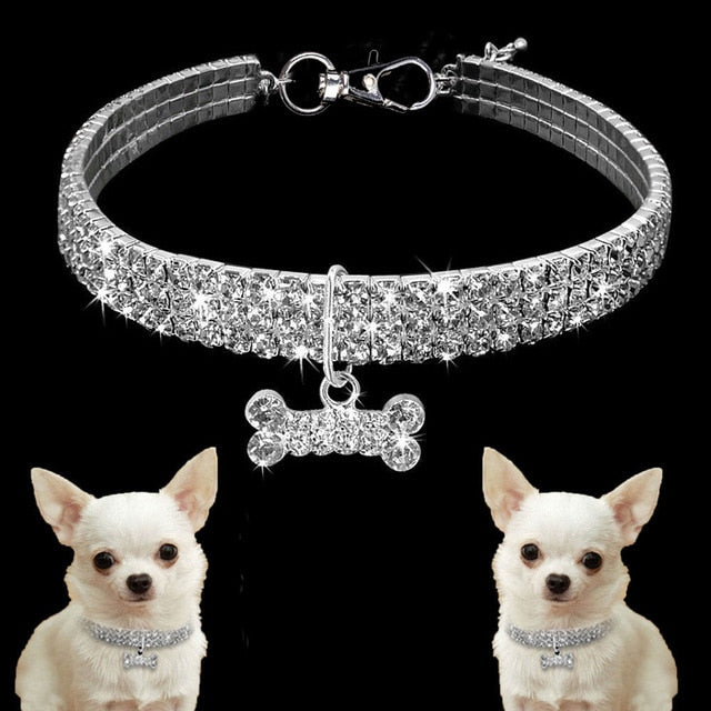 Blue Pink and White Rhinestone Dog Collars