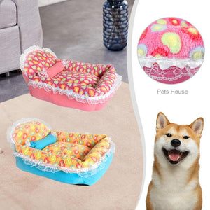 Coral Velvet Lace Dog and Cat Bed
