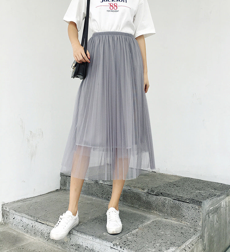 10548c871 BIVIGAOS 2019 Summer Women Tulle Skirt Pleated Skirt Black High Waist Midi Skirts  Thin Chiffon Mesh