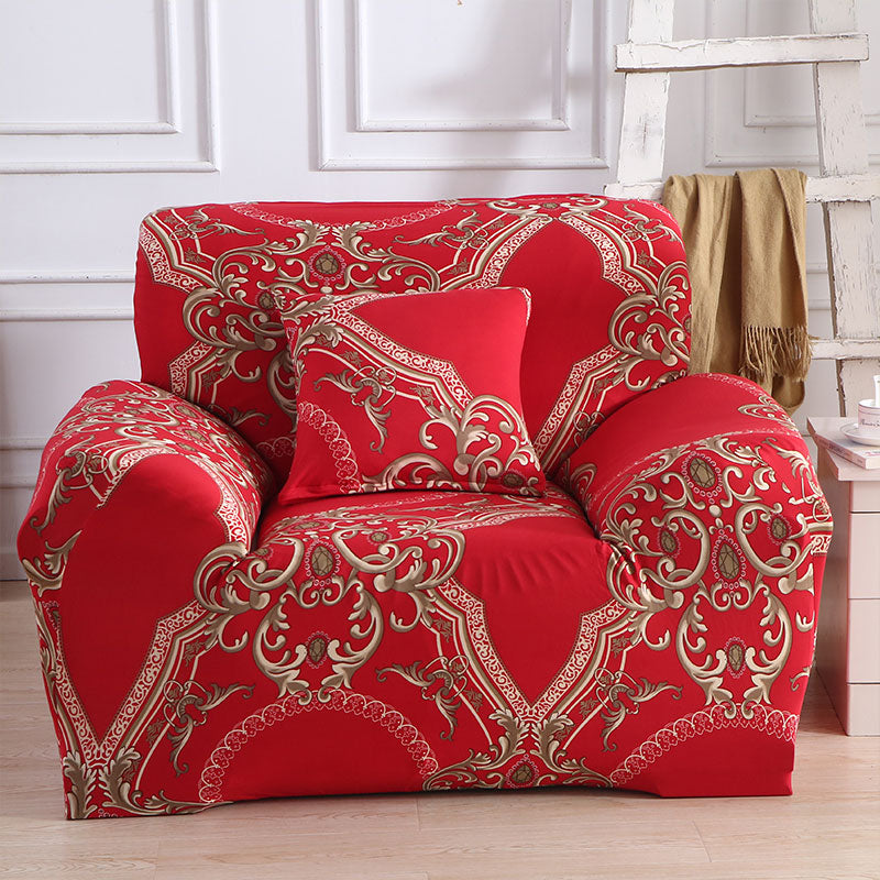 Red Pattern Single Sofa Cover Cotton Stretch Elastic Sofa Covers for living  Room Copridivano Slipcover for Armchairs couch cover