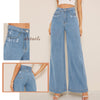 Sheinside Blue Vintage High Waist Jeans Women 2019 Summer Ripped Detail Wide Leg Denim Trousers Ladies Solid Casual Jeans