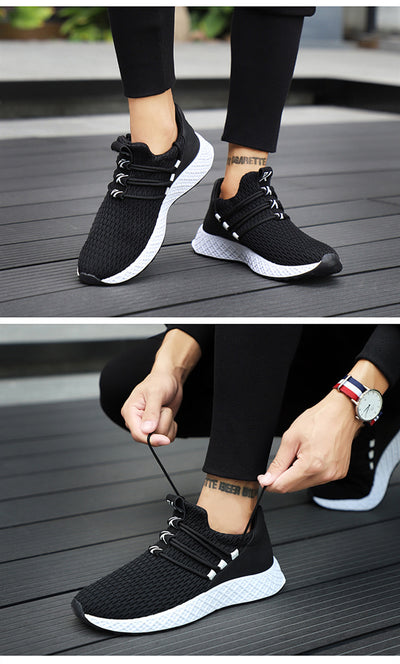 Men Sneakers Black Mesh Breathable Running Sport Shoes Male Lace Up Wear-resistant Men Low Athletic Sneakers zapatillas hombre