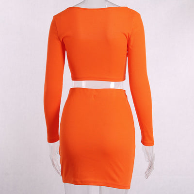 New Women's Two Pieces Sets Neon Orange Sexy Club Party Sets Buttons Knit Long Sleeve Crop Top Mini Skirt Overalls Outfits GV339