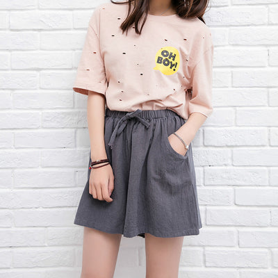Summer Women Cotton Linen Shorts Black Casual Loose Wide Leg Shorts Drawstring High Waist Short For Women Culotte