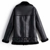 Fitaylor Winter Women Faux Lamb Leather Jacket Turndown Collar Zipper Punk Loose Overcoat Female Warm Thick With Belt Outerwear
