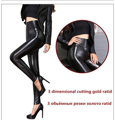 99f04e3b7627b7 2019 New Winter Thickened Leggings Skinny Pants Women Black Leather Warm PU  Pants waist high trousers