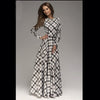 New Arrival winter women maxi dresses casual full sleeve o-neck print plaid elegant party evening maxi long dress plus size 2016