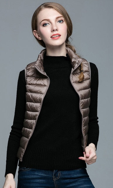 HOT!Winter Women 90% White Duck Down Vest Women's Ultra Light Duck Down Vest Jacket Autumn Winter Sleeveless Coat