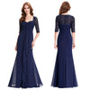 Navy Blue  Mother of the Bride Dresses Lace Dress Elegant Half Sleeve Chiffon Ruffles Evening Dresses Mother Bride Gown 0136