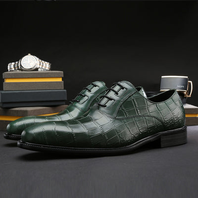 FELIX CHU Italian Spring Autumn Men Formal Wedding Shoes Genuine Cow Leather Crocodile Print Party Man Green Dress Shoes