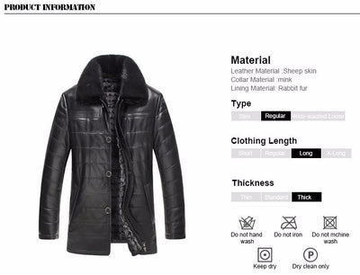 Gours Winter Mens Genuine Leather Jacket Brand Clothing Sheepskin Coat Rex Rabbit Fur Parka with Mink Collar 2018 New