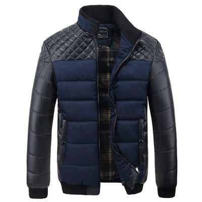 Brand Men's Jackets and Coats 4XL PU Patchwork Designer Jackets Men Outerwear Winter Fashion Male Clothing SA004