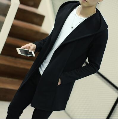 Fashion slim medium-long trench coat men Open Stitch solid sweater outerwear plus size male Hooded cardigan overcoat size 5XL