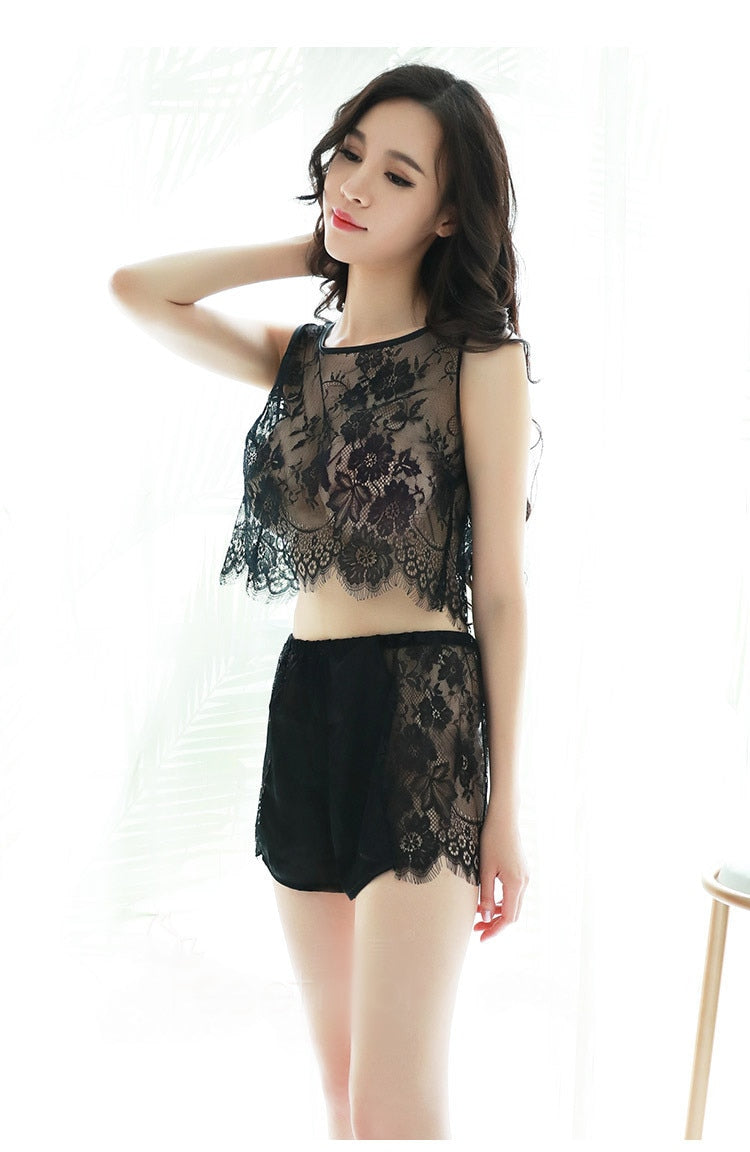 25f135e57e7d Women s Sleep   Lounge Pajamas set women black white lace top + shorts sets hot  sexy