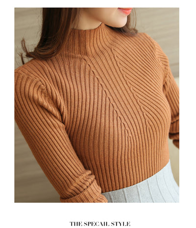 Turtleneck Sweater Women Fashion Autumn Winter Black Tops Women Knitted Pullovers Long Sleeve Jumper Pull Femme Clothing