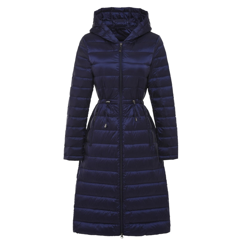 b0026b2fb Woman Long Weightless Jacket Female Hooded Ultra Light Padded Jackets  Winter Down Coat Casual Parkas Solid