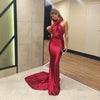 2019 Sexy Mermaid Red Satin Dresses Floor Length Evening Party Dress Hollow Out DIY Straps Bodycon Backless Evening Gown Dress