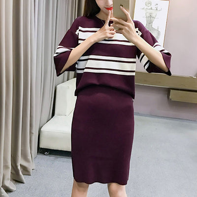 Winter 2 Pieces Sets Knitted Three-quarter Sleeve Sweater Skirt Suit Elastic Waist Skirts & Striped Pullover Women Outfits Mujer