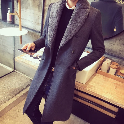 30% Wool 70% Polyester Wool Blend Triple Breasted Trenchcoat Long Jacket For Men With Fur Collar Blue Grey  Manteau Long Homme