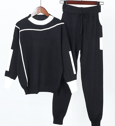 Women Pants and Sweater 2pcs Suits Striped Sporty Knitted Trousers and Jumper Tops Winter 2pcs Casual Sets