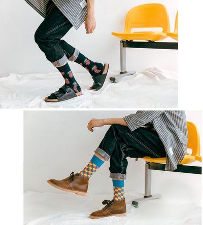 2019 New Fashion 9 Colors Striped Plaid Cherry Socks Men Combed Cotton For Spring Autumn Winter High Quality Men's Socks