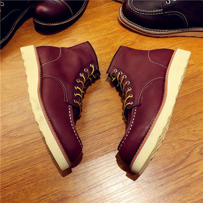 Vintage Men Boots Lace-Up Genuine Leather Boots Wing Men Handmade Work Travel Wedding Ankle Boots Casual Fashion Red Boots 875